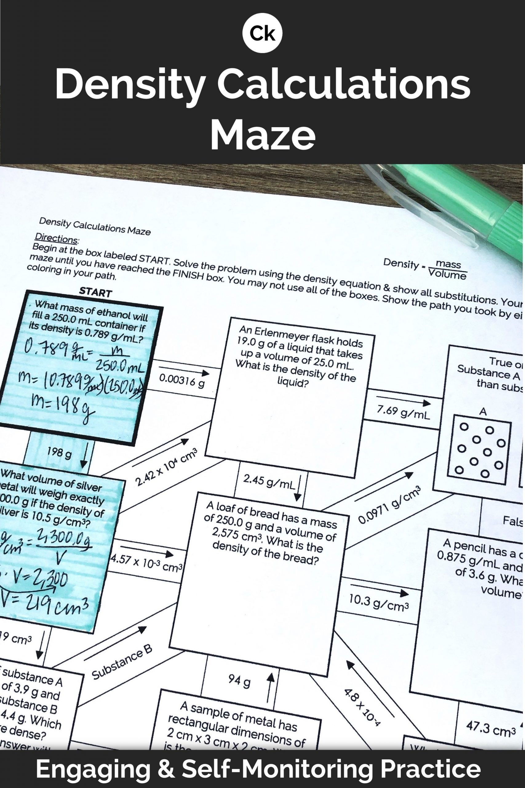 Density Worksheet Middle School Density Mazes Calculations and Conceptual Visual Worksheet