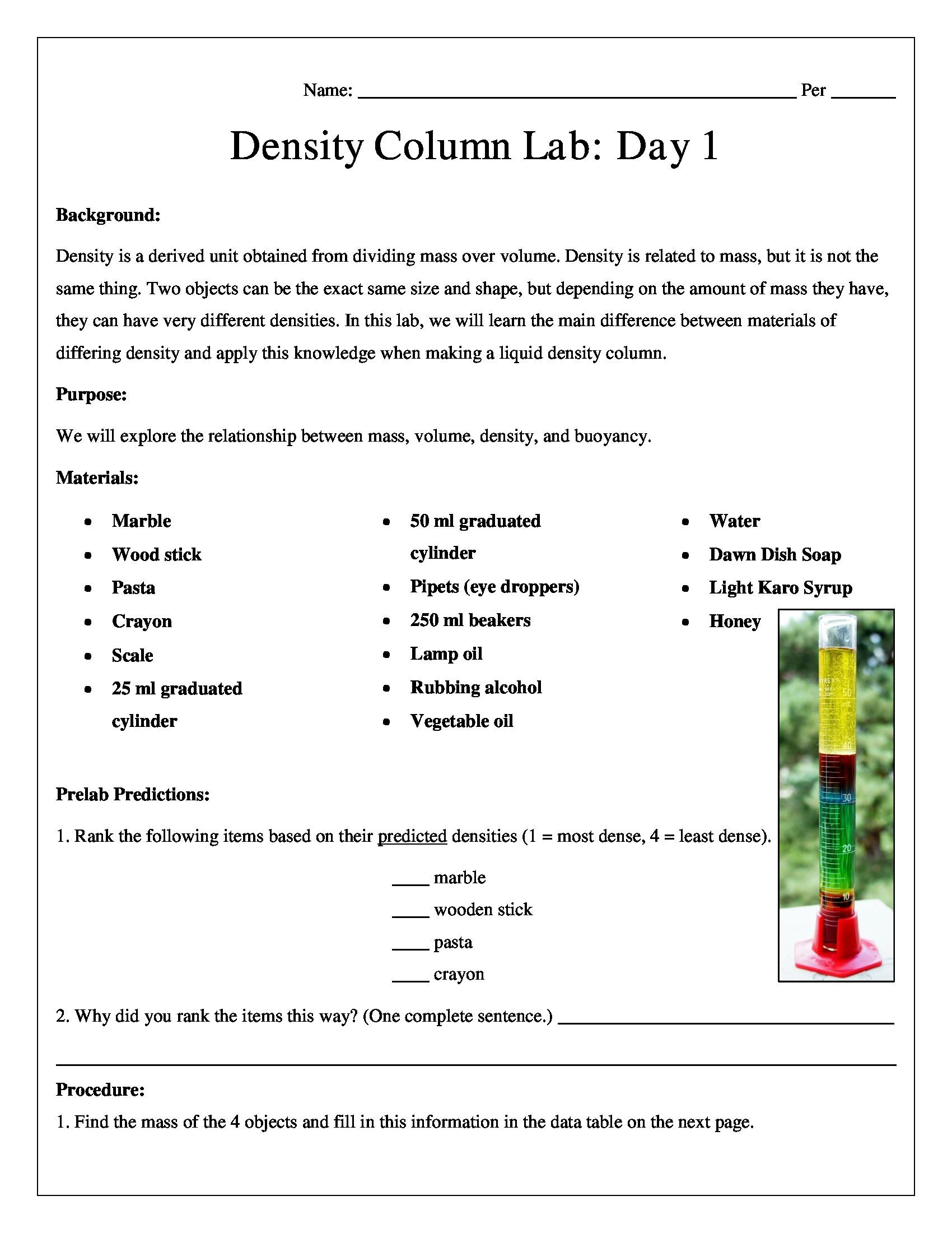 Density Worksheet Middle School Liquid Density Column Chemistry Lab