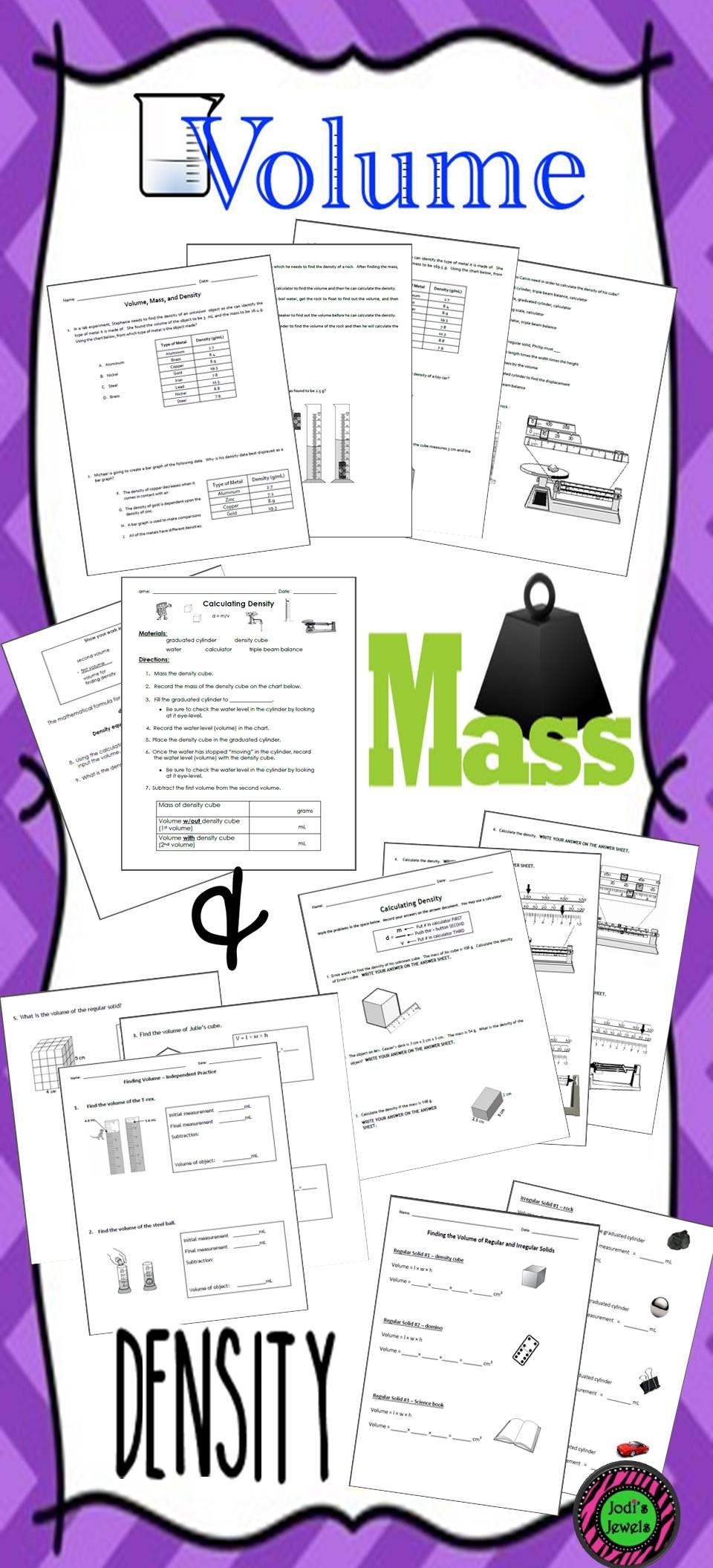 Density Worksheet Middle School Volume Mass & Density Lab Sheets and Worksheet Practice