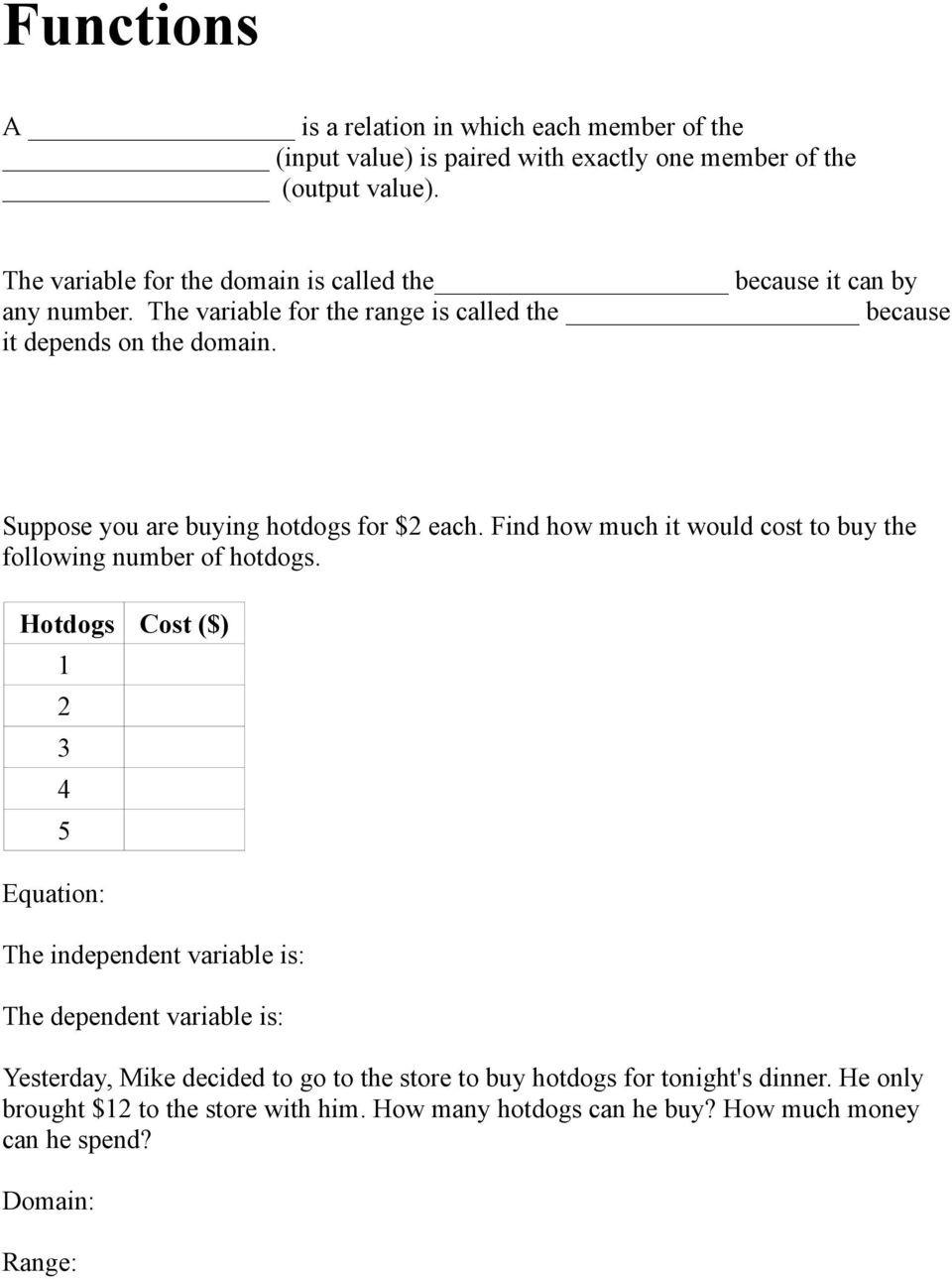 Dependent and Independent Variables Worksheet Domain Range Independent and Dependent Variables Pdf