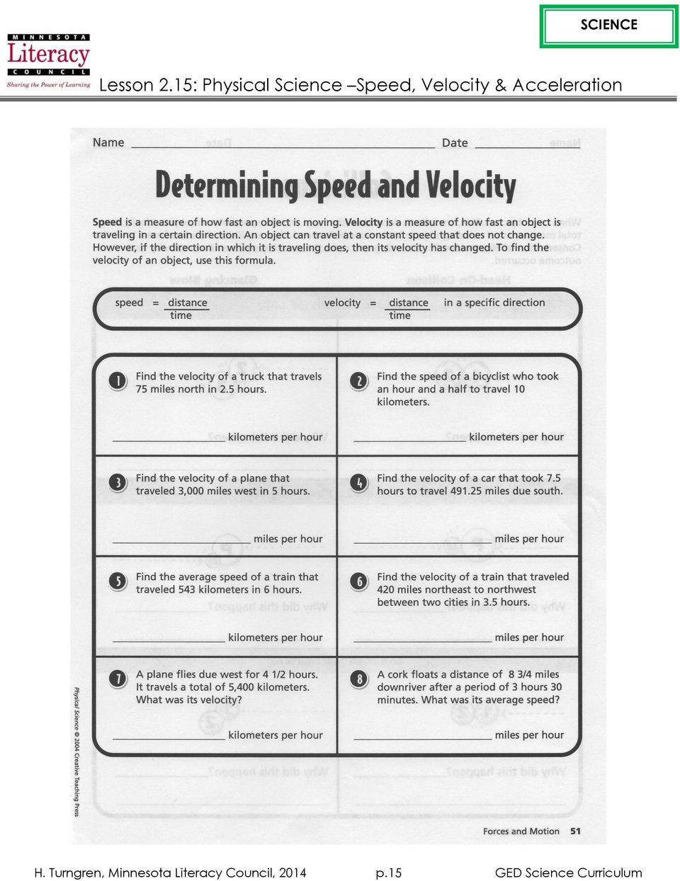 Determining Speed Velocity Worksheet Lesson 2 15 Physical Science Speed Velocity & Acceleration
