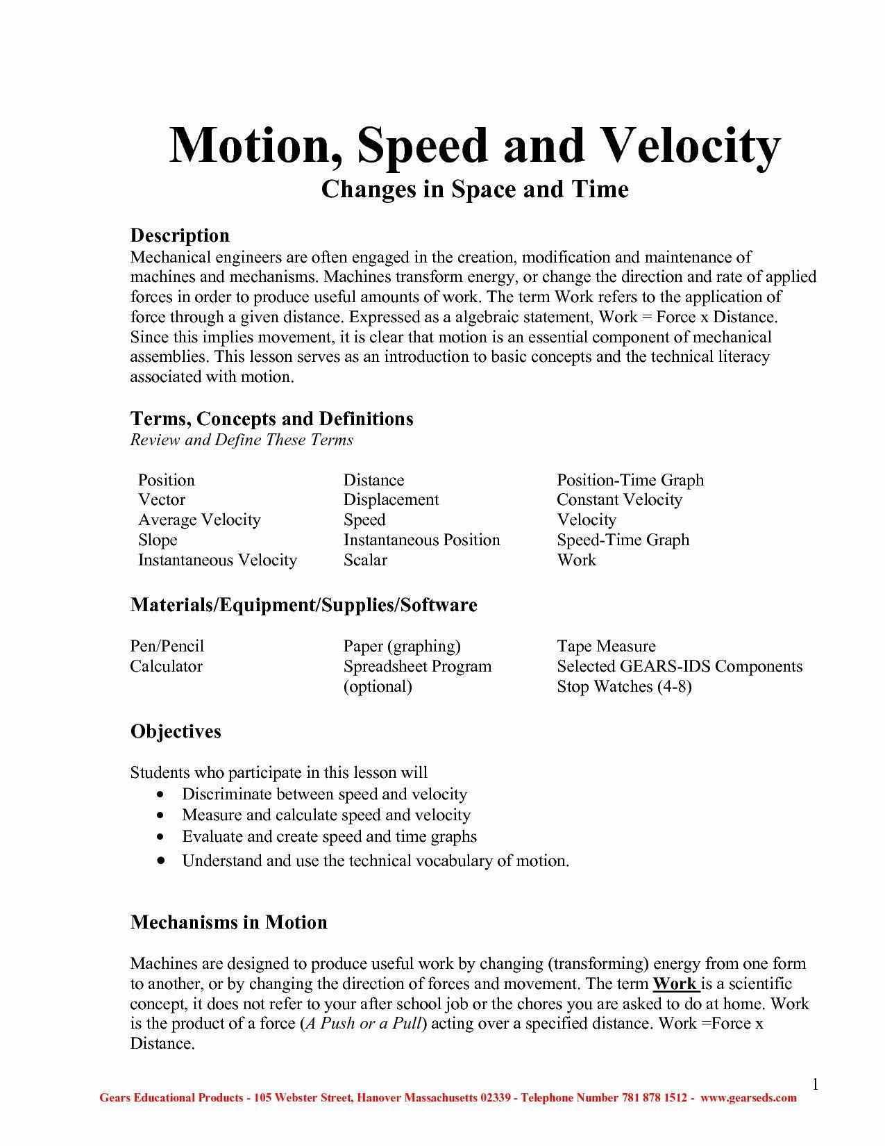 Determining Speed Velocity Worksheet Physics Speed and Velocity Worksheet Answers