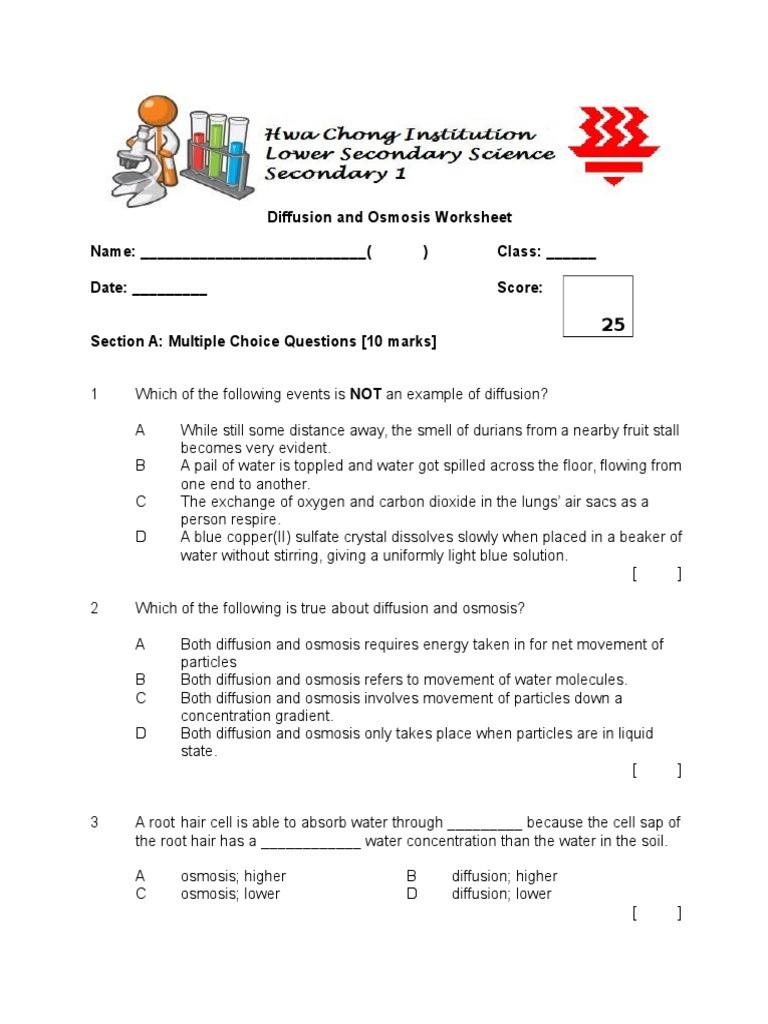 Diffusion and Osmosis Worksheet Diffusion and Osmosis Worksheet Osmosis
