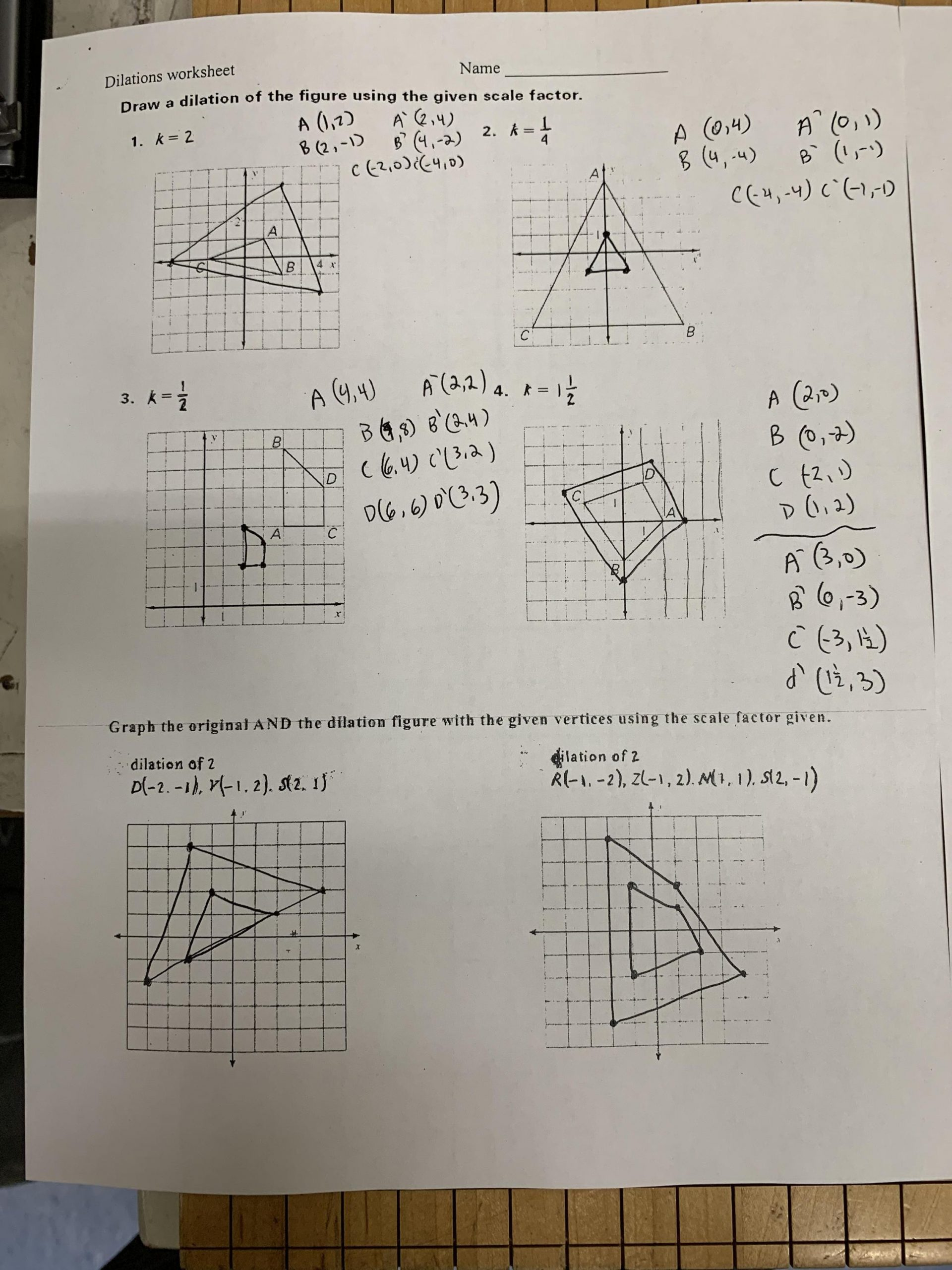 Dilations and Scale Factor Worksheet Culver City Middle School