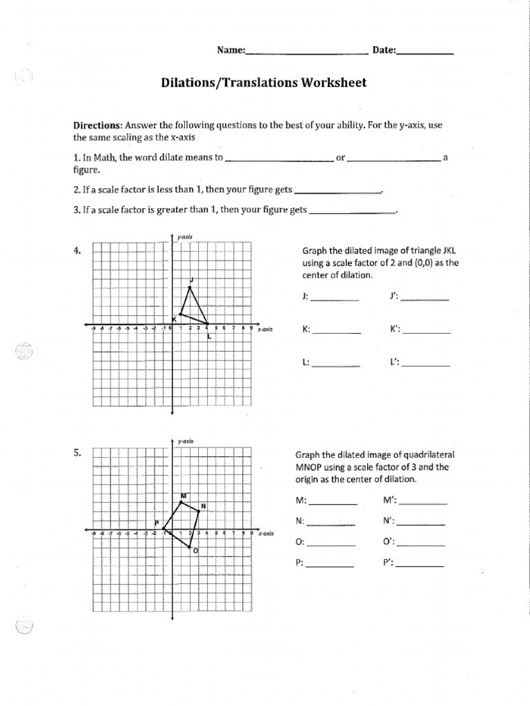 Dilations and Scale Factor Worksheet Dilation Worksheet