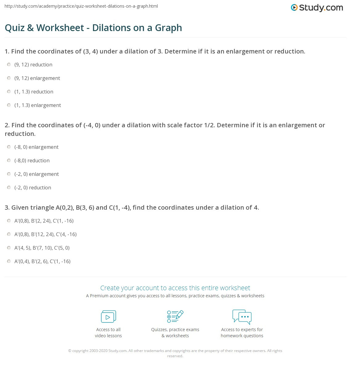 Dilations and Scale Factor Worksheet Quiz & Worksheet Dilations On A Graph