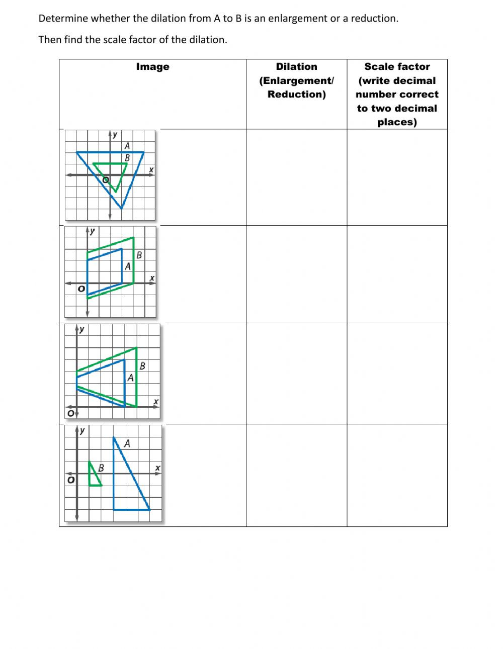 Dilations and Scale Factor Worksheet Similarity Transformation Interactive Worksheet