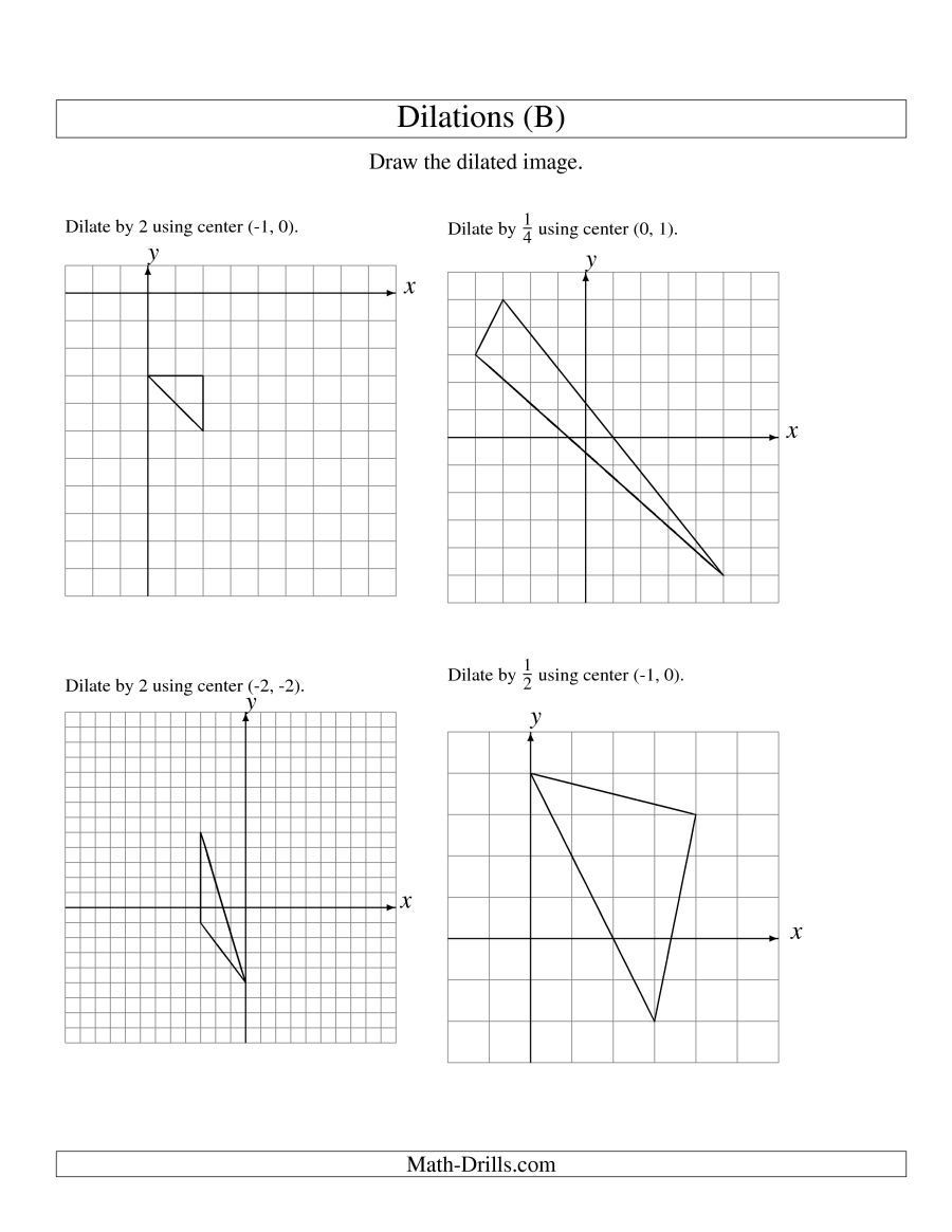 Dilations and Scale Factor Worksheet the Dilations Using Various Centers Math Worksheet 8th Grade