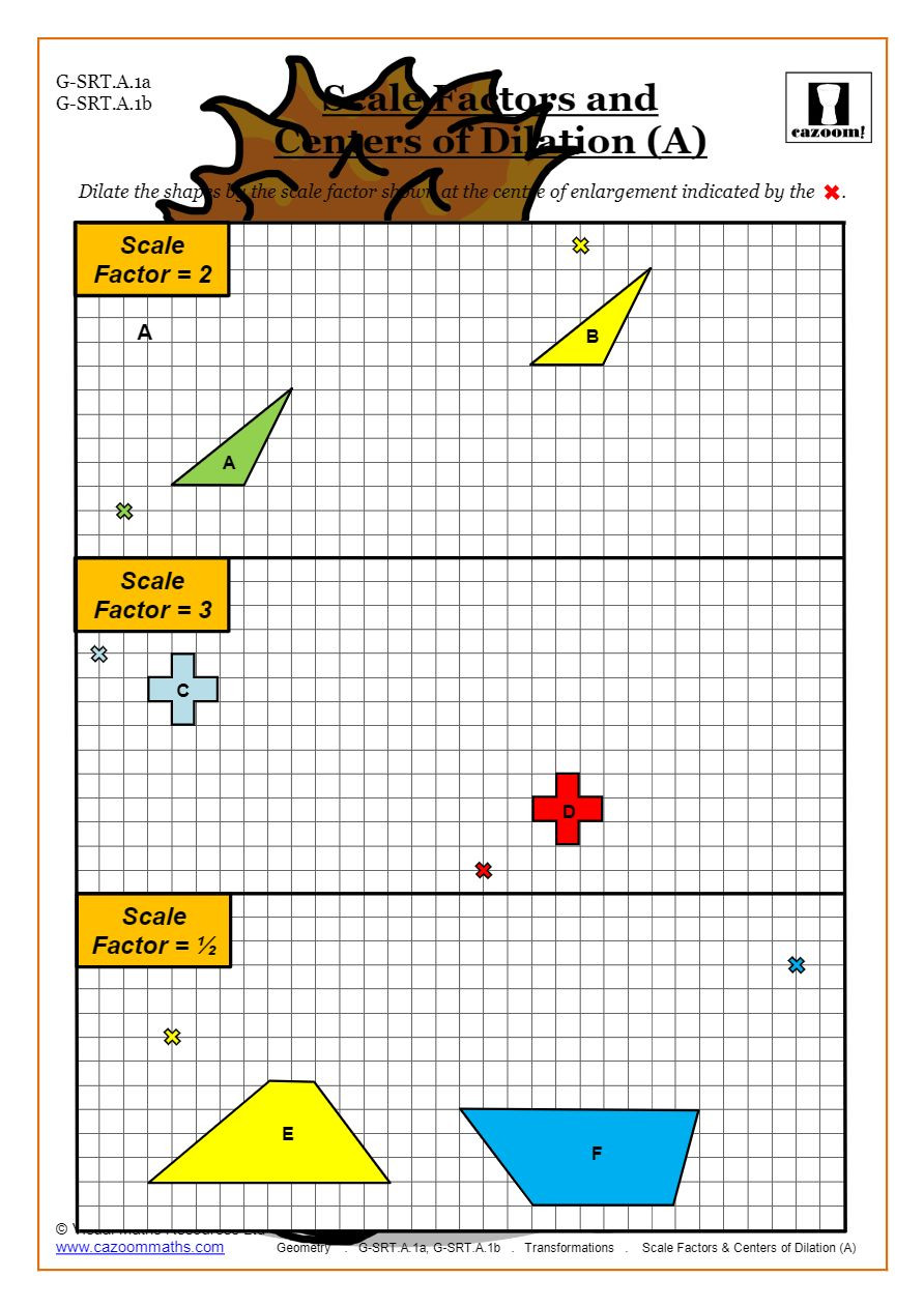 Dilations and Scale Factor Worksheet Transformations Worksheets Geometry