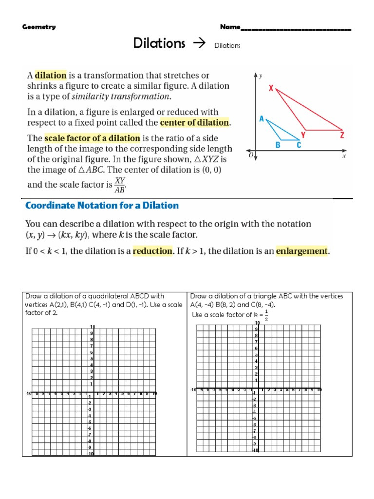 Dilations and Scale Factor Worksheet Ws Dilation Intro origin Only