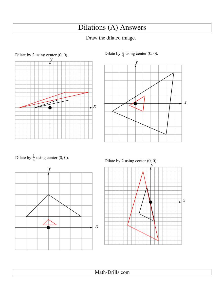 Dilations Translations Worksheet Answers Dilations Using Center 0 0 A