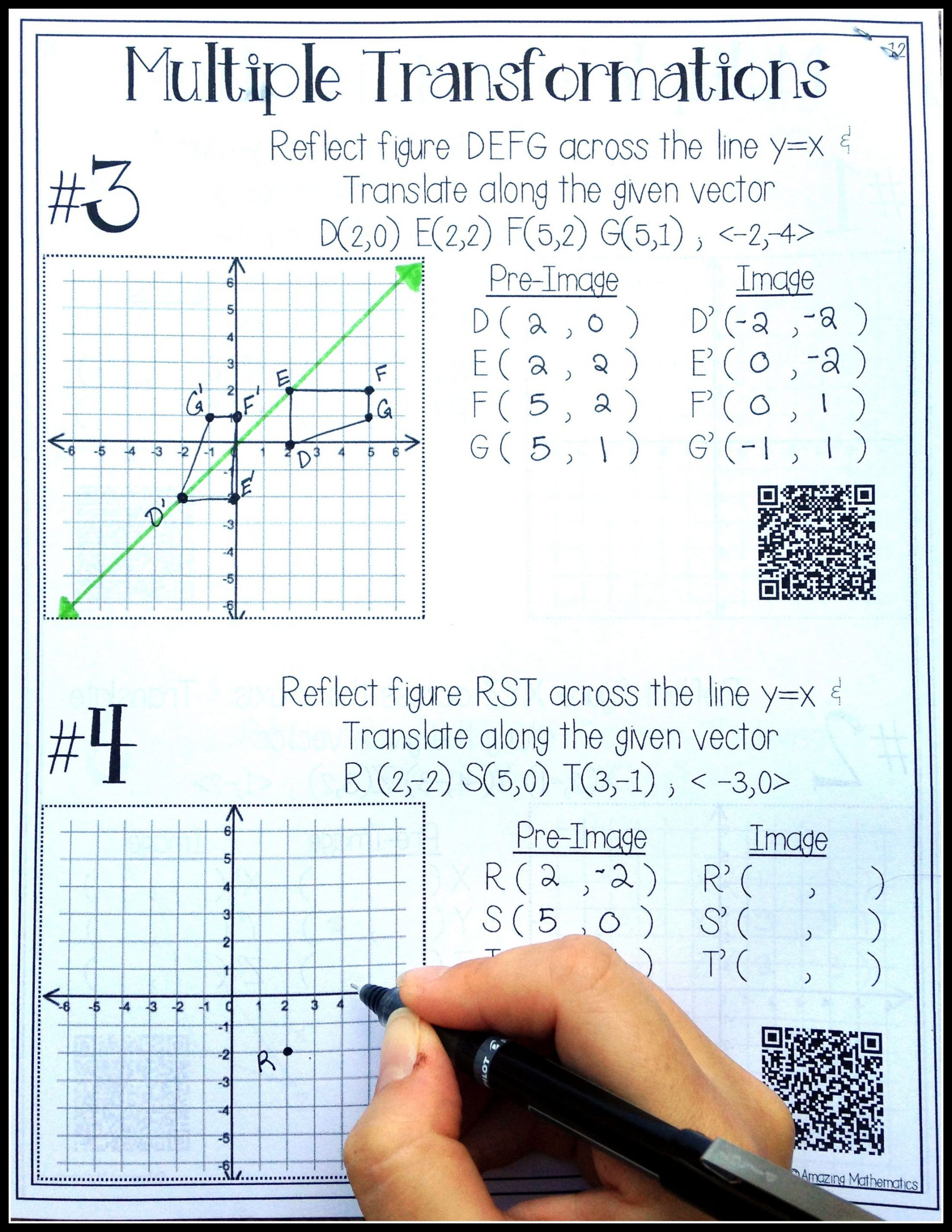 Dilations Translations Worksheet Answers Hs Geometry Transformations Workbook Translations