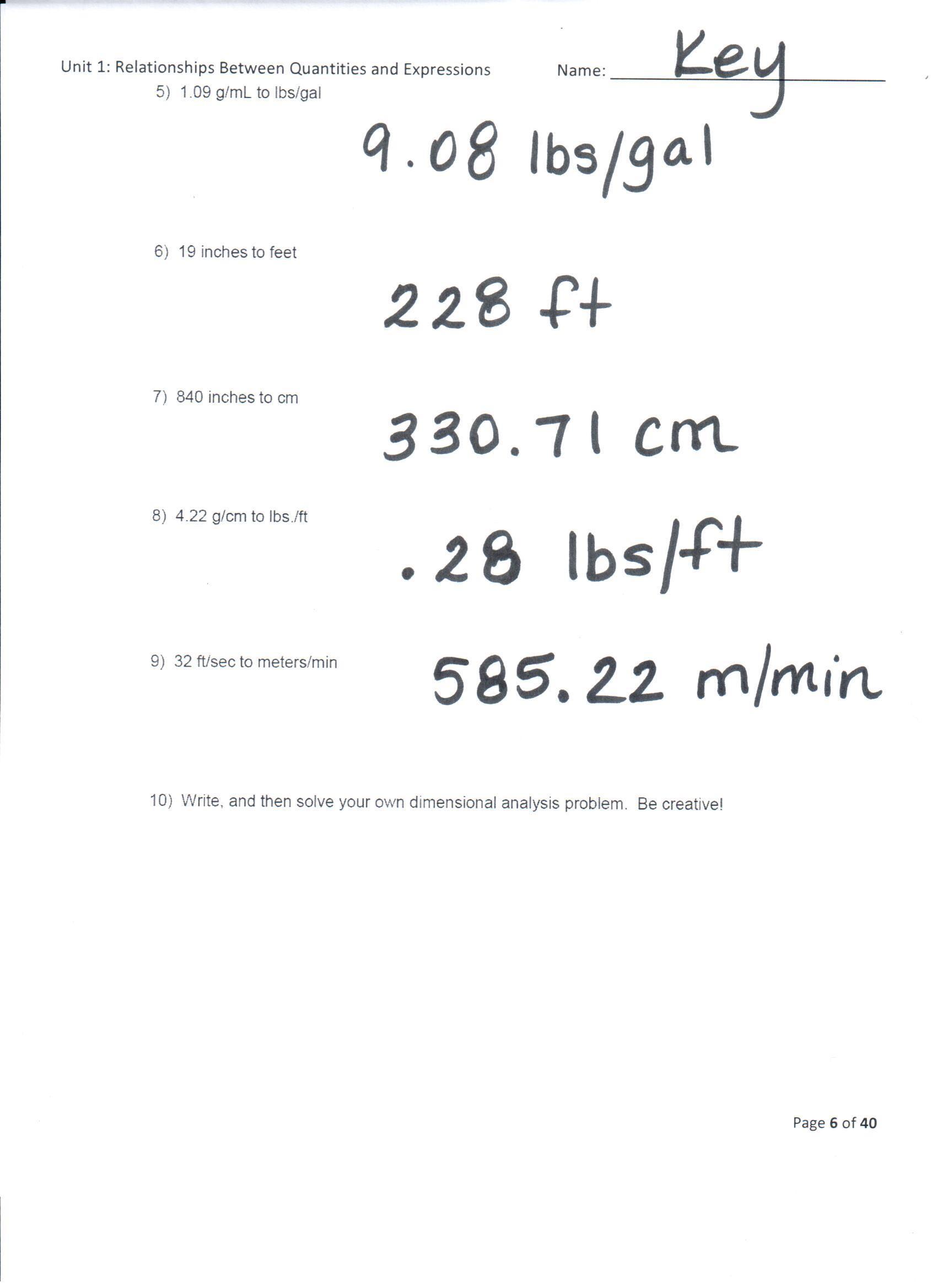 Dimensional Analysis Practice Worksheet Category Homework