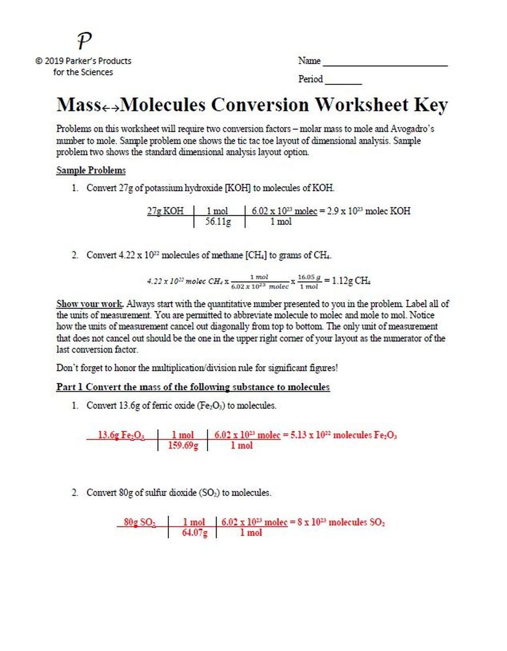 Dimensional Analysis Practice Worksheet Mass to Molecules Conversion Worksheet