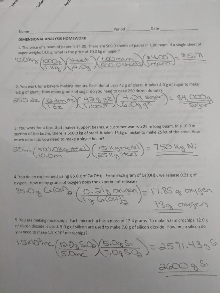 Dimensional Analysis Worksheet 2 Dimensional Analysis – Chemistry with Cambre