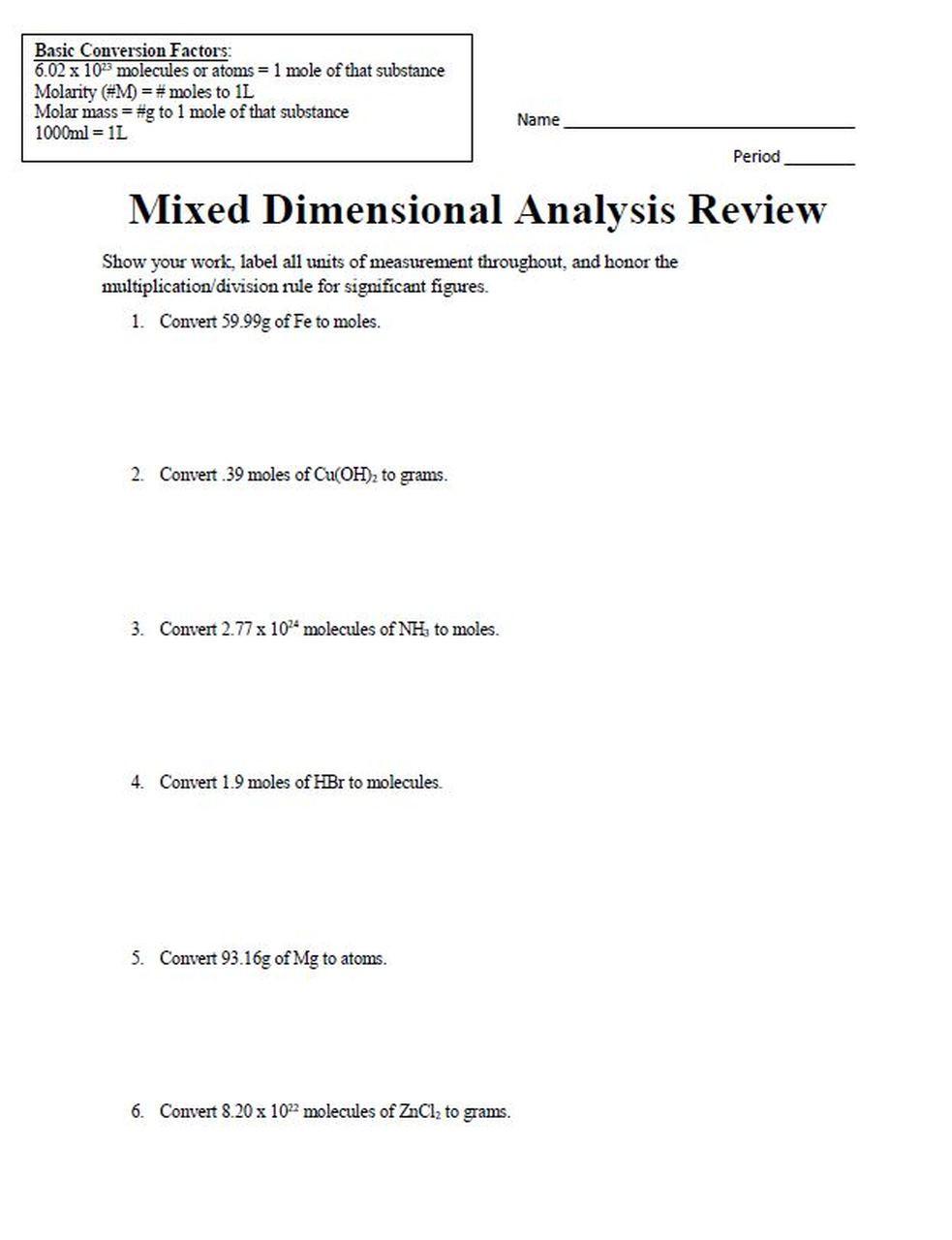 Dimensional Analysis Worksheet 2 Mixed Dimensional Analysis Review Problem Set