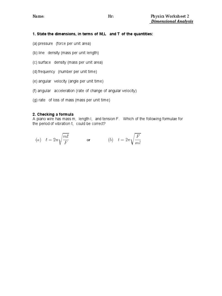 Dimensional Analysis Worksheet 2 Name Hr Physics Worksheet 2 Dimensional Analysis