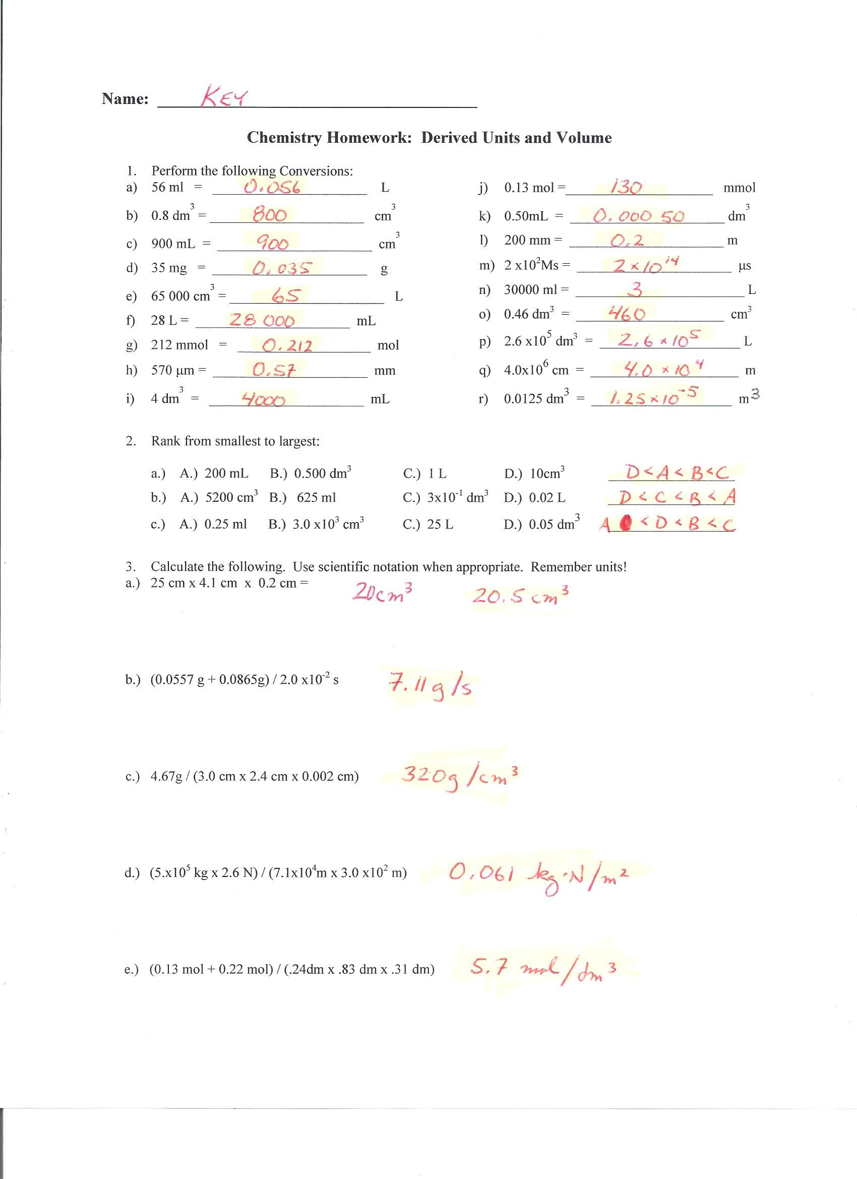 Dimensional Analysis Worksheet Answers Chemistry Mr D S Cp Chemistry 2018 2019 Web Page