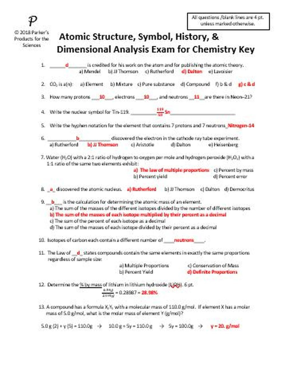 Dimensional Analysis Worksheet Chemistry atomic Structure Symbol History and Dimensional Analysis Exam for Chemistry
