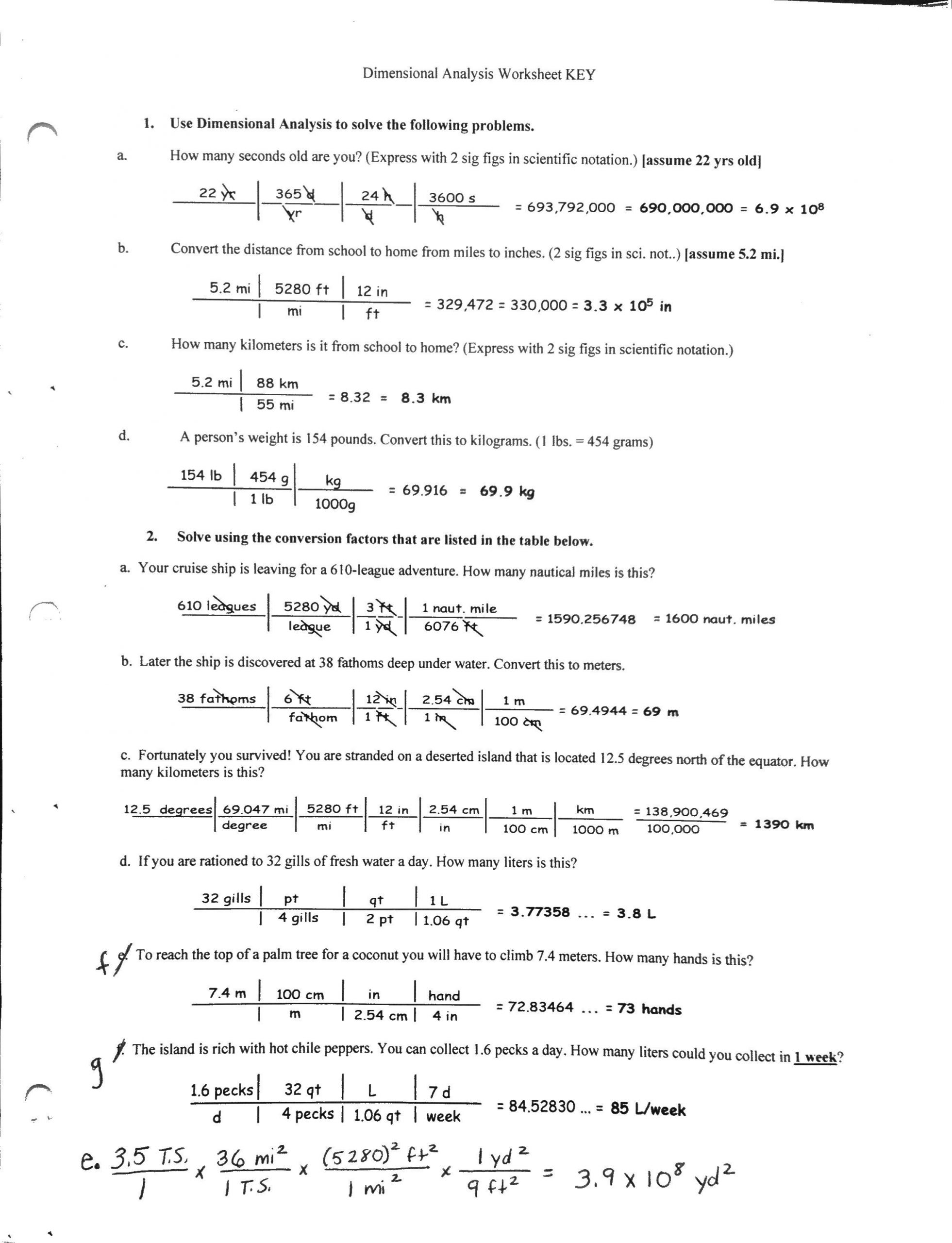 Dimensional Analysis Worksheet Chemistry Basic Conversion Worksheets
