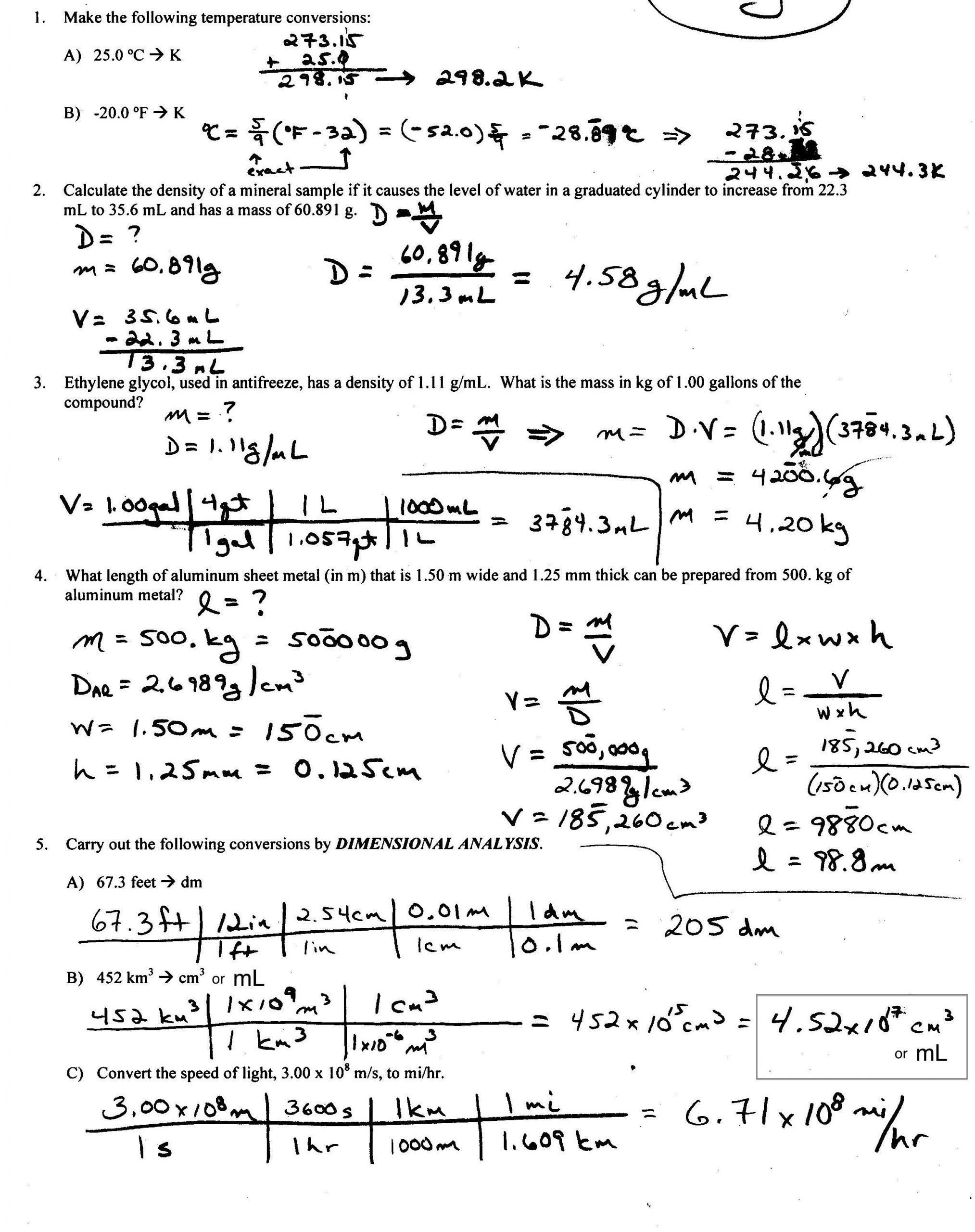 Dimensional Analysis Worksheet Chemistry Density Worksheet with Answers Calculate Density Worksheet
