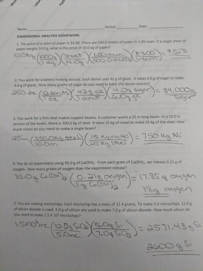 Dimensional Analysis Worksheet Chemistry Dimensional Analysis – Chemistry with Cambre