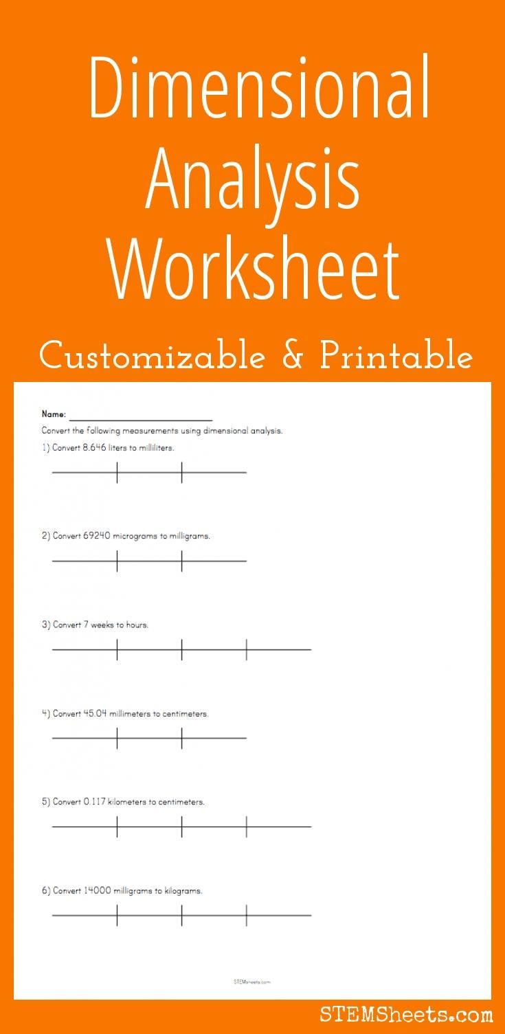 Dimensional Analysis Worksheet Chemistry Dimensional Analysis Worksheet Customize and Print