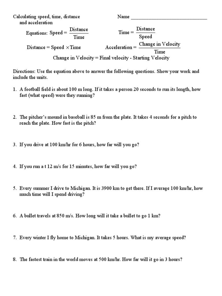 Distance and Displacement Worksheet Answers Calculating Speedc Speed