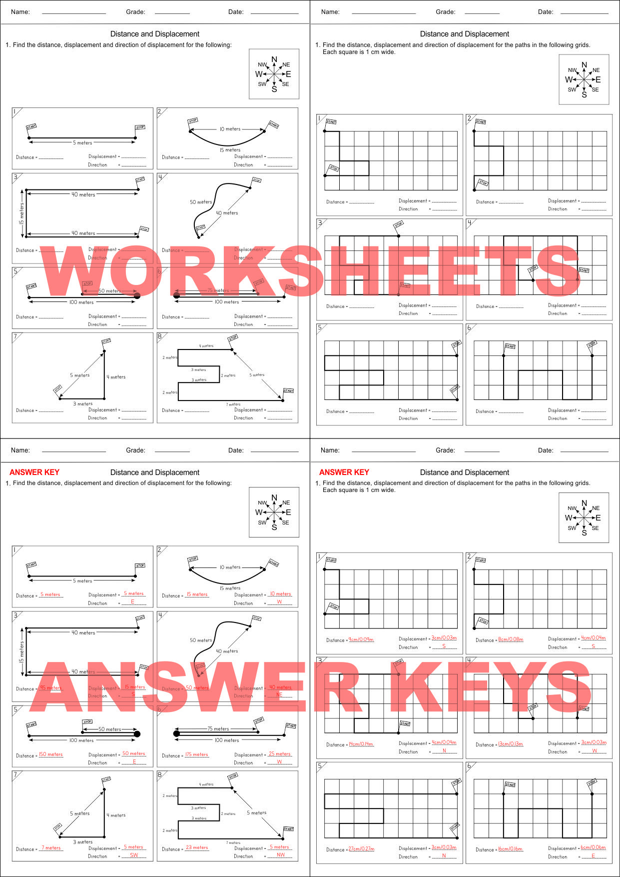 Distance Vs Displacement Worksheet Distance & Displacement Motion Worksheet 1 Distance Learning Support