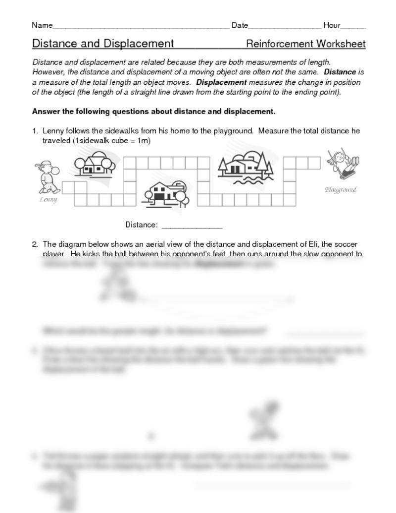 Distance Vs Displacement Worksheet Distance Vs Displacement Worksheet