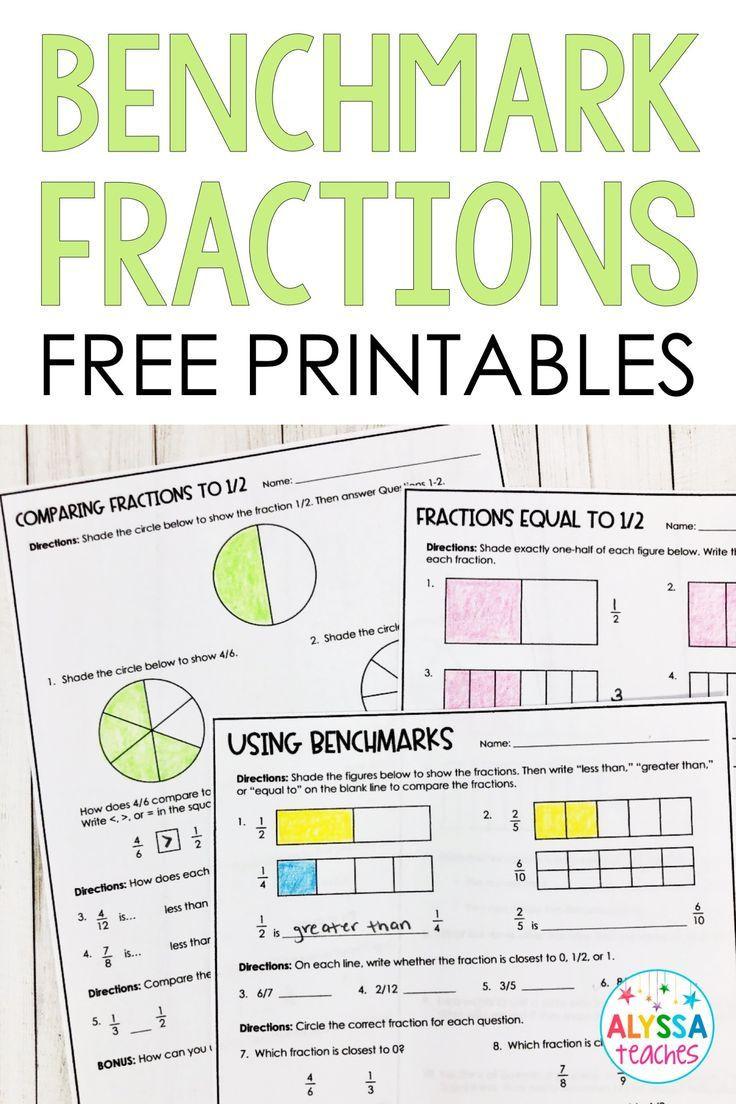 Dividing Fractions Using Models Worksheet Benchmarks Fractions Poster and Worksheets