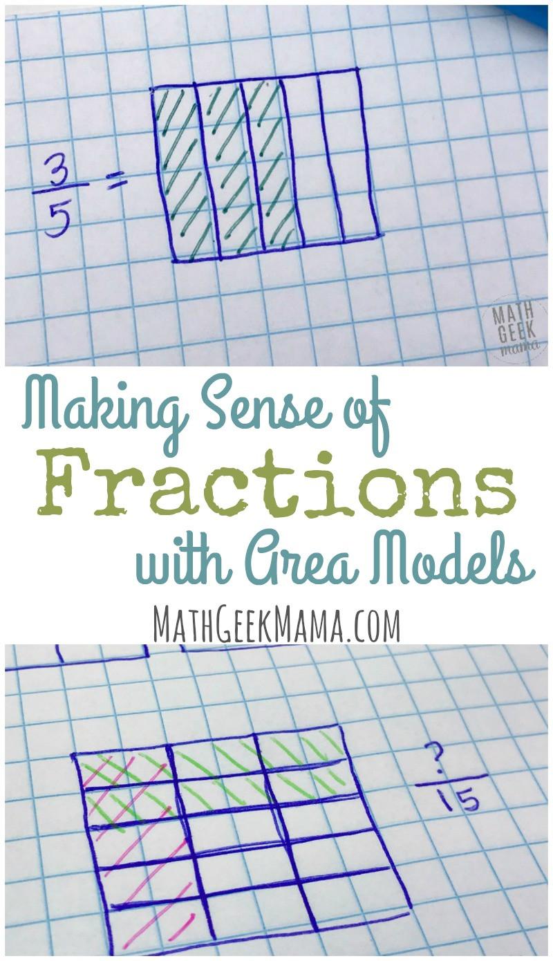 Dividing Fractions Using Models Worksheet Deepening Fraction Sense with Fractions area Models