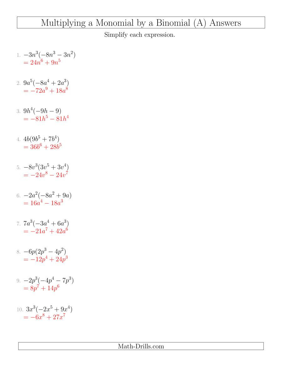 Dividing Polynomials by Monomials Worksheet 27 Multiplying and Dividing Monomials Worksheet with Answers