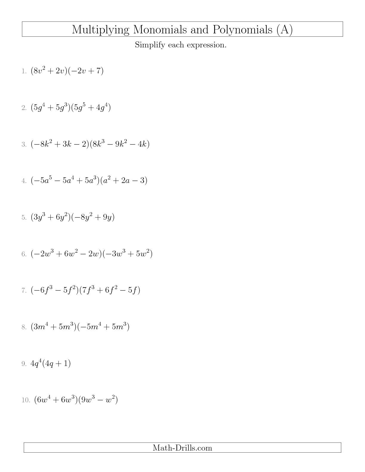 Dividing Polynomials by Monomials Worksheet Dividing Polynomials by Monomials Worksheet
