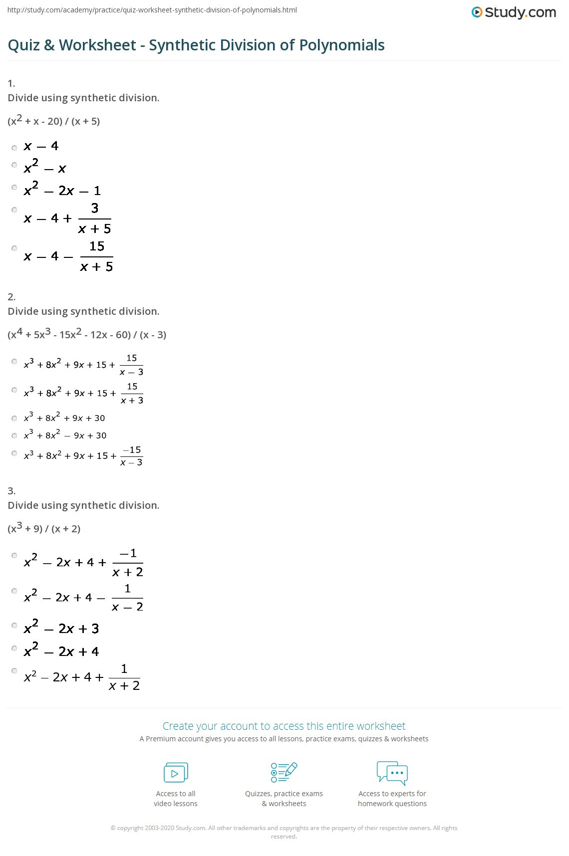 quiz worksheet synthetic division of polynomials study