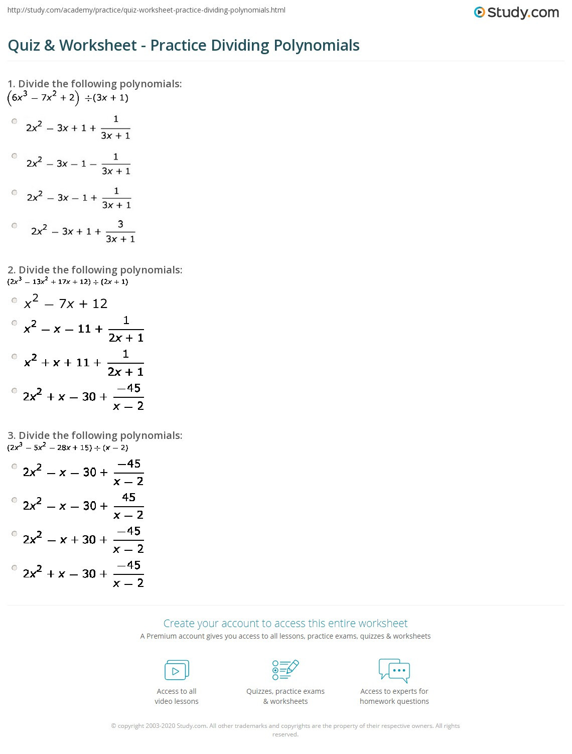 Dividing Polynomials by Monomials Worksheet Quiz & Worksheet Practice Dividing Polynomials