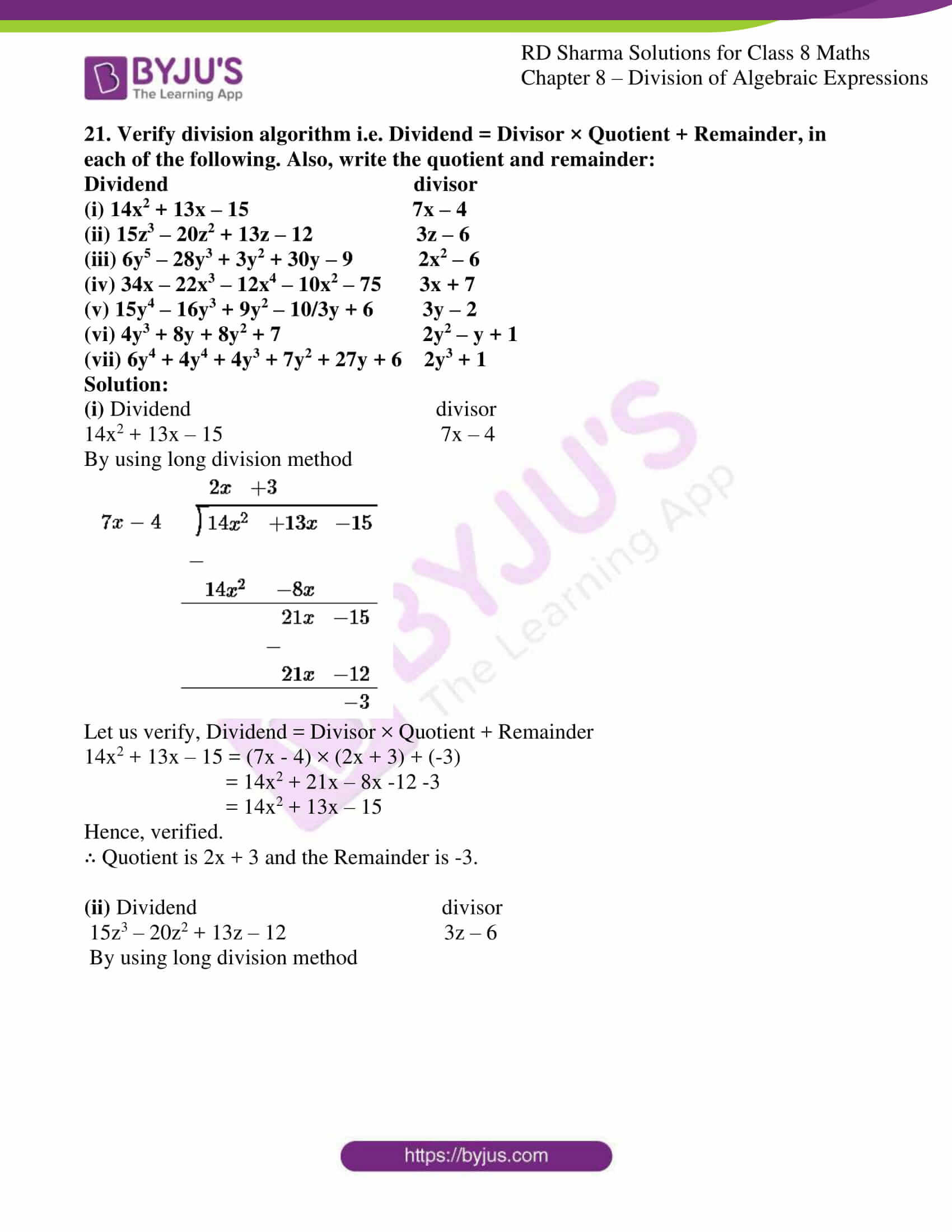 Dividing Polynomials by Monomials Worksheet Rd Sharma solutions for Class 8 Chapter 8 Division Of