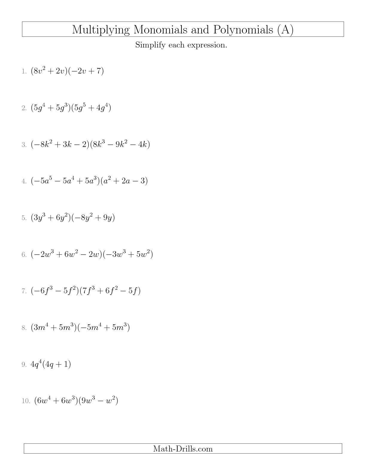 Dividing Polynomials Worksheet Answers Dividing Polynomials by Monomials Worksheet