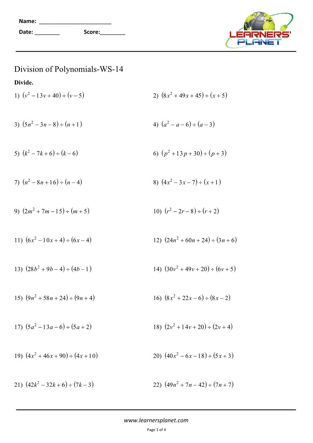 Dividing Polynomials Worksheet Answers Division Of Polynomials Class 8 Worksheets