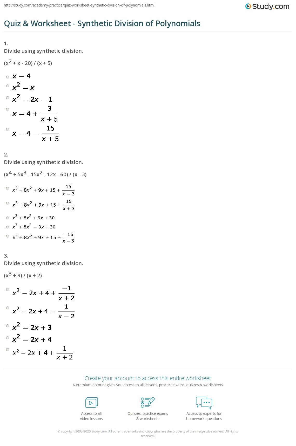 Dividing Polynomials Worksheet Answers Long Division Polynomials Worksheet Kuta software