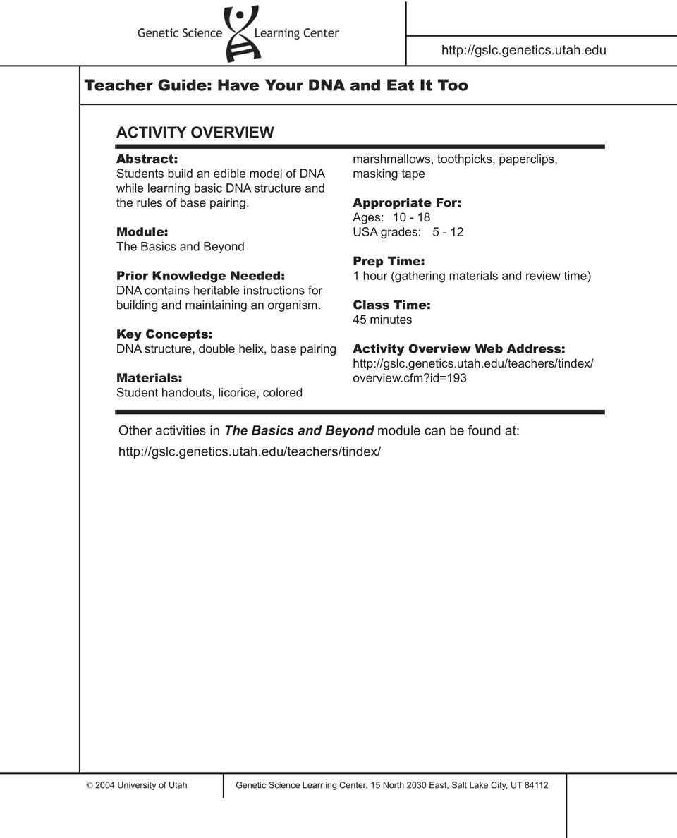 Dna Base Pairing Worksheet Answers Teacher Guide Have Your Dna and Eat It too Activity