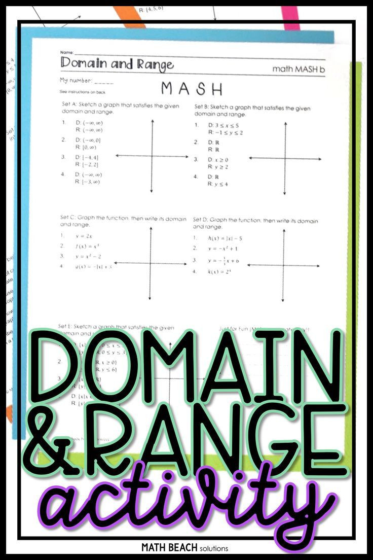 Domain and Range Practice Worksheet Domain and Range Math Mash Activity