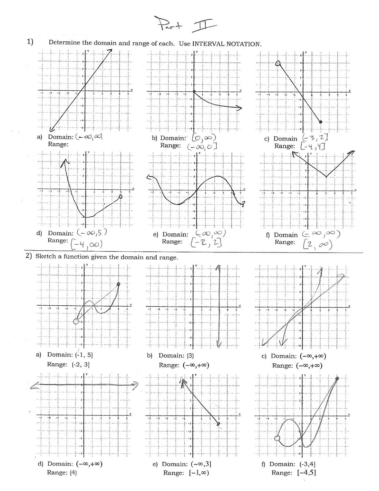 Domain and Range Worksheet 1 34 Finding Domain and Range From A Graph Worksheet with