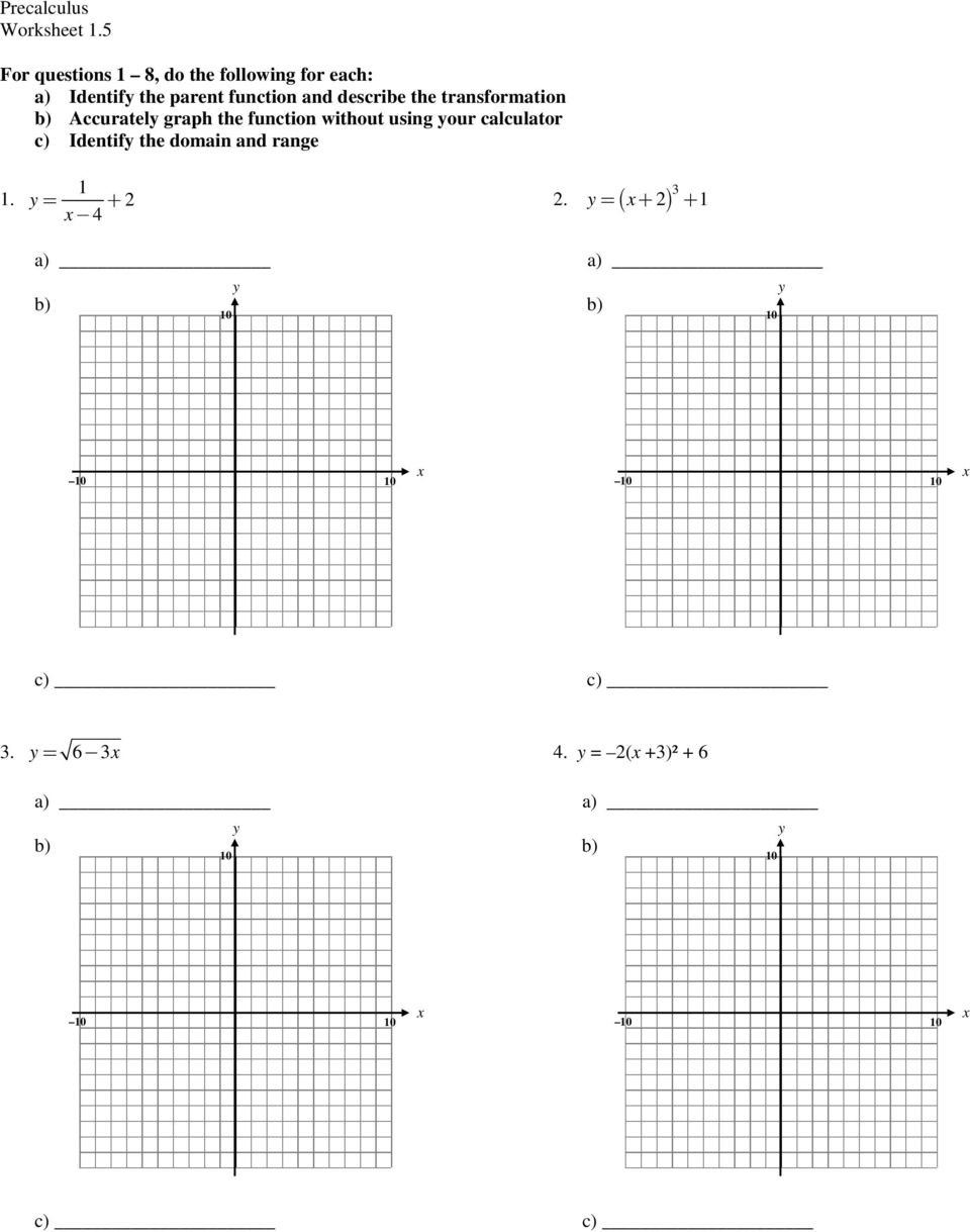 Domain and Range Worksheet 1 6 the Given Function is Only Drawn for X 0 Plete the