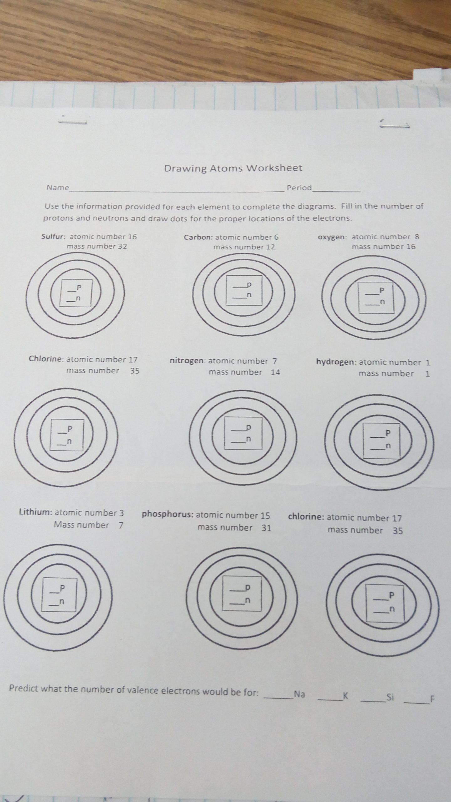drawing atoms worksheet 1