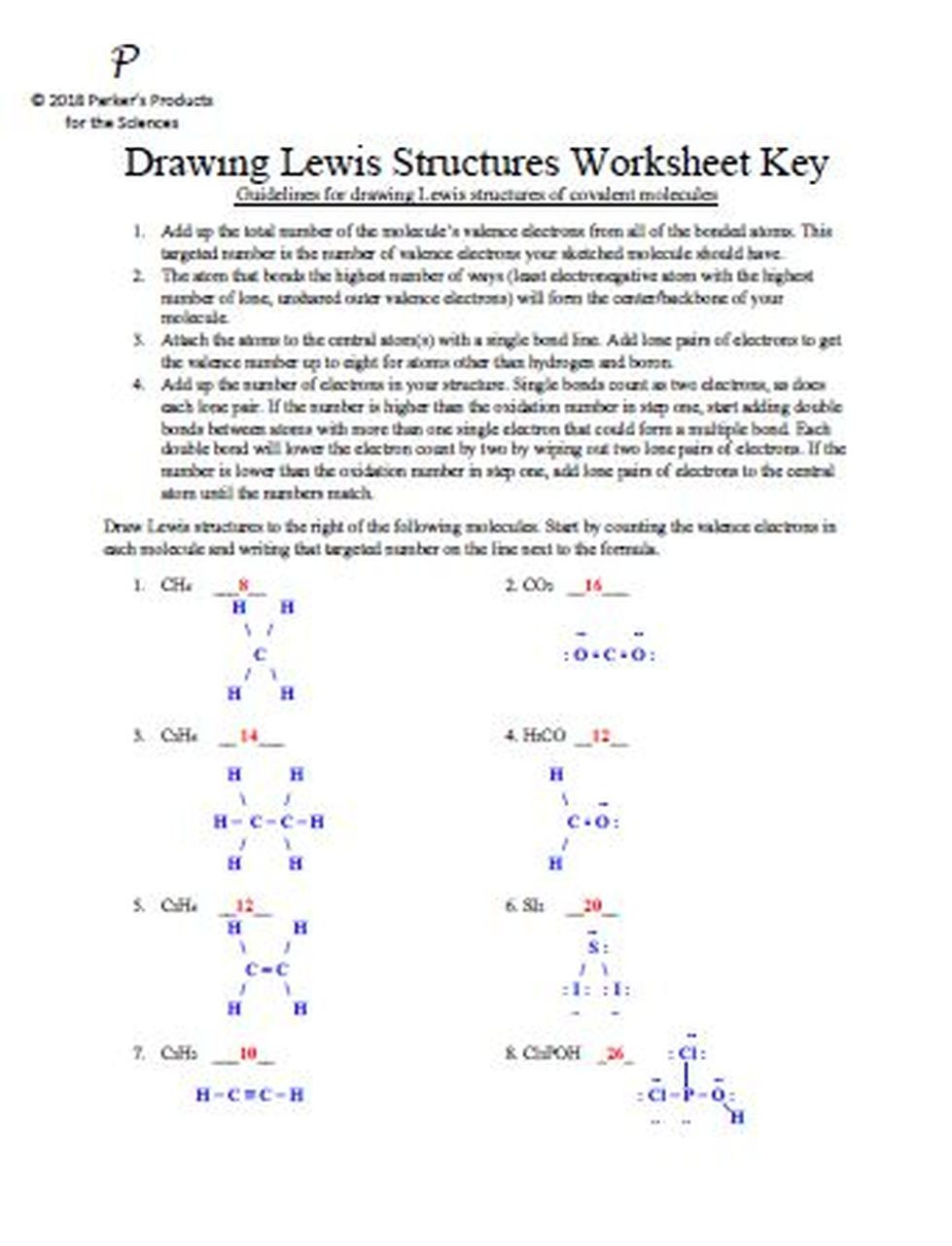 Drawing Lewis Structures Worksheet Drawing Lewis Structures Worksheet