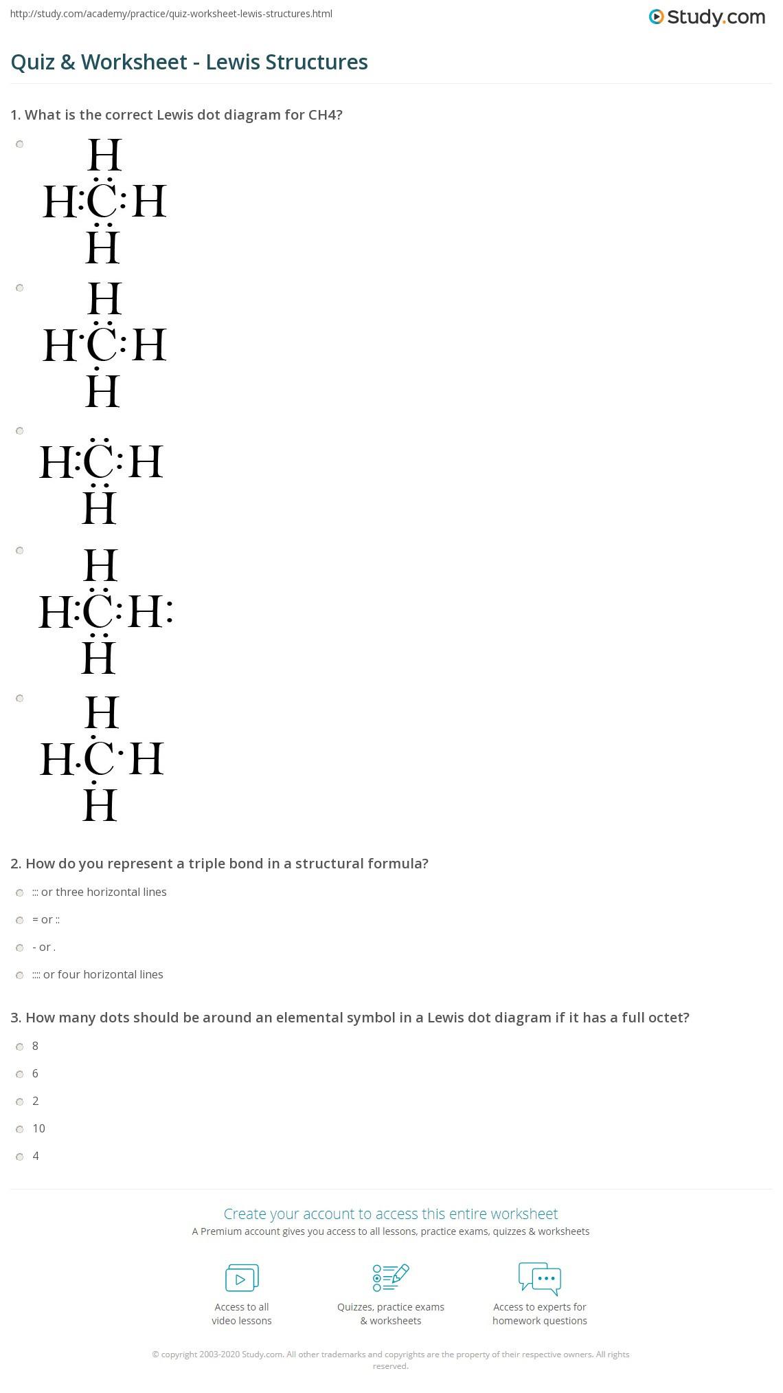 Drawing Lewis Structures Worksheet Quiz & Worksheet Lewis Structures