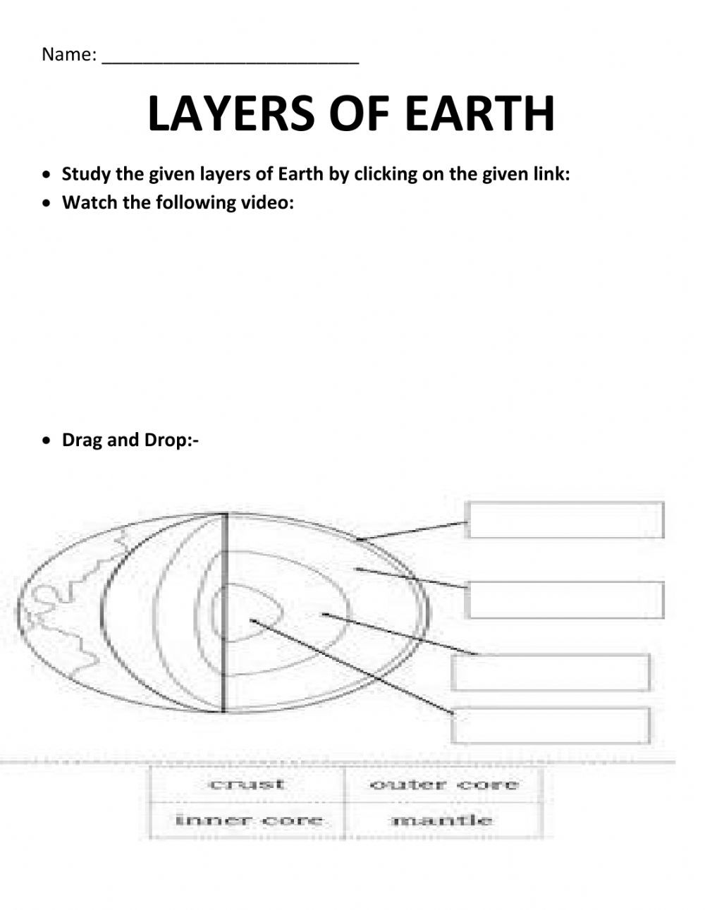 Earth Layers Worksheet Pdf Layers Earth Interactive Worksheet