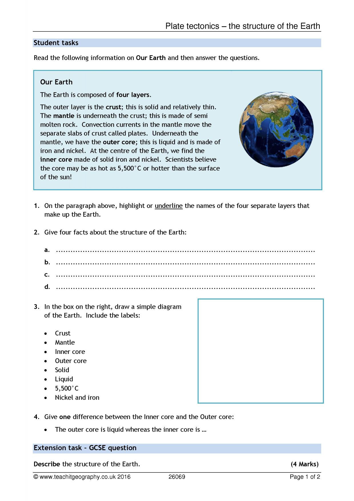 Earth Layers Worksheet Pdf Plate Tectonics – the Structure Of the Earth
