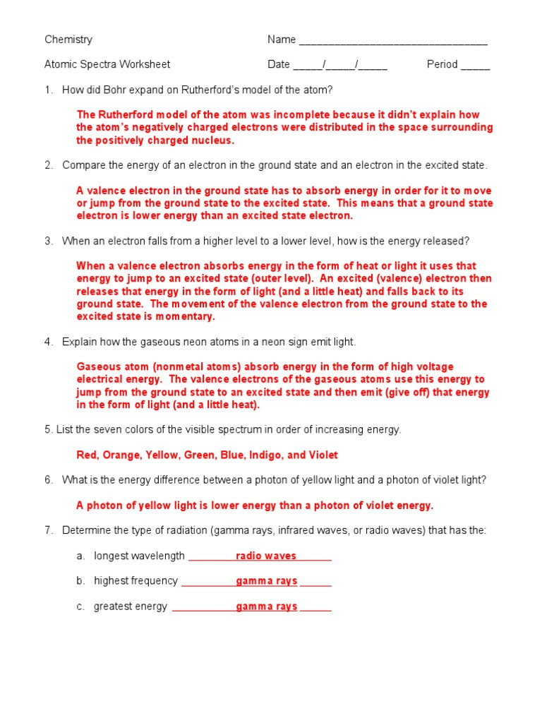 Electromagnetic Spectrum Worksheet Answers atomic Spectra Worksheet Answer Key 05 06c